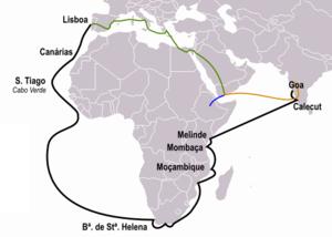 Caminho percorrido pela expedição (a preto). Nesta figura também se pode ver, para comparação, o caminho percorrido por Pêro da Covilhã (a laranja) separado de Afonso de Paiva (a azul) depois da longa viagem juntos (a verde).